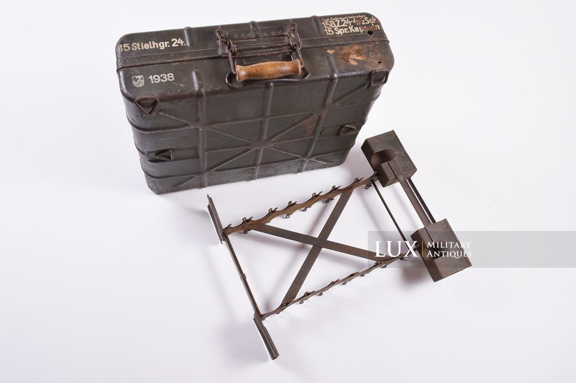 German stick grenade carrier box with internal storage rack, dated 1938