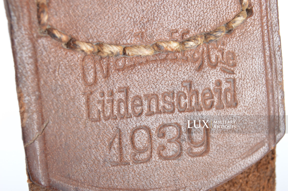 Early Luftwaffe combat belt and belt buckle set, chocolate brown belt, « L.B.A.39 » - photo 12