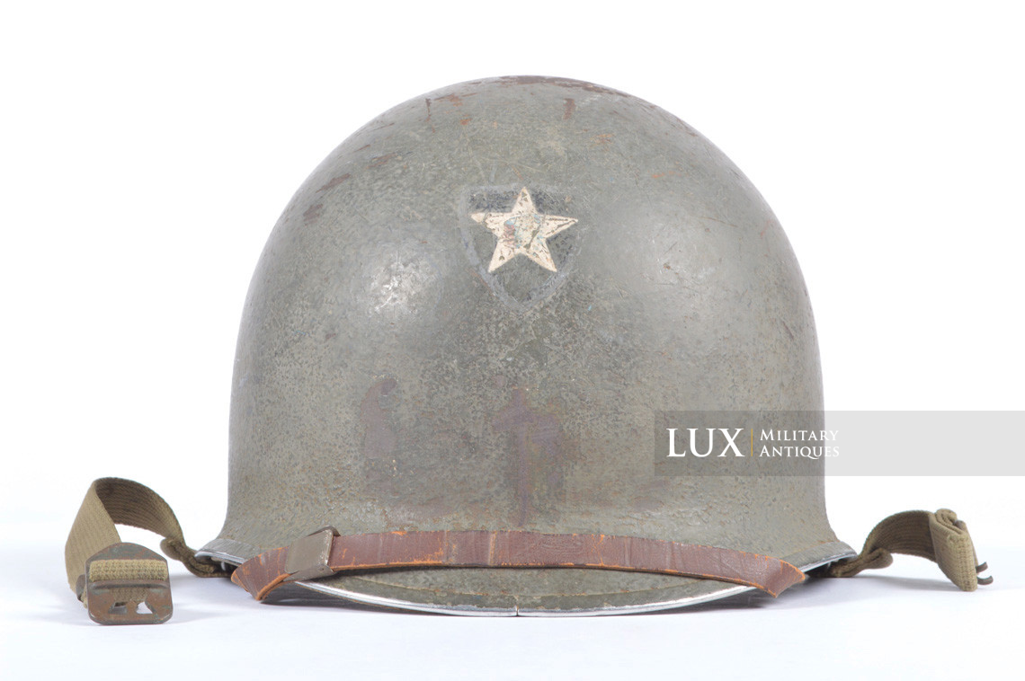 Rare USM1 2nd Infantry Division Chaplain's combat helmet, « Indian Head » - photo 10