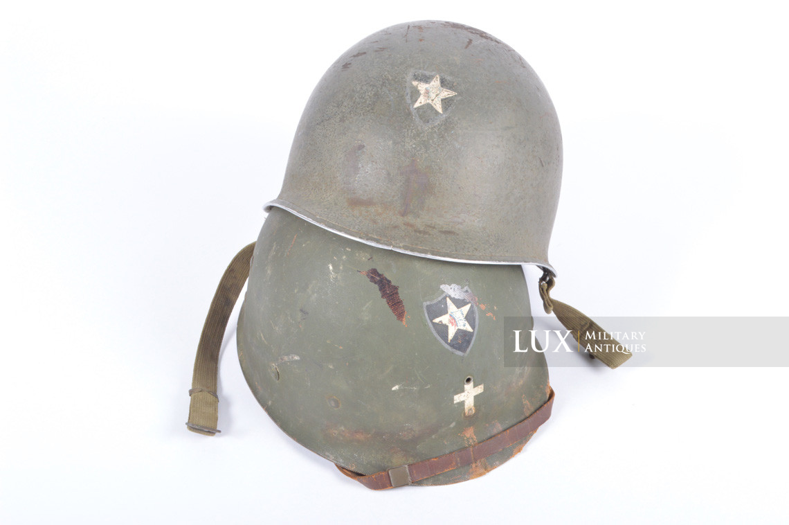 Rare USM1 2nd Infantry Division Chaplain's combat helmet, « Indian Head » - photo 4