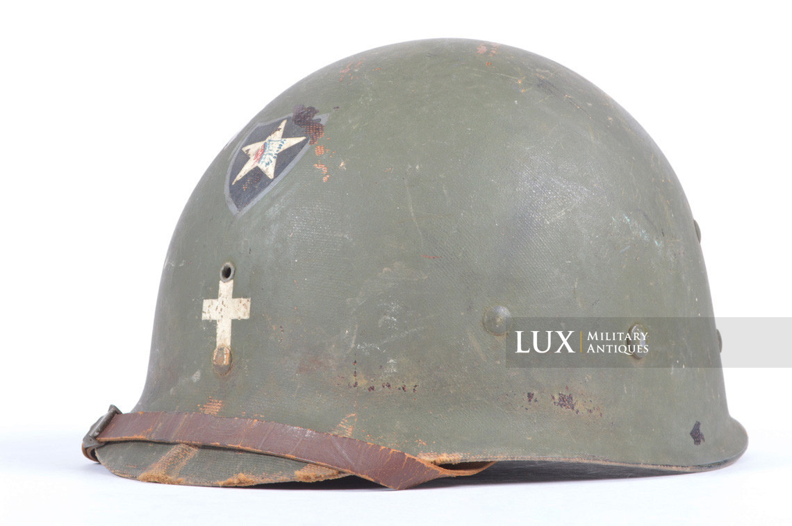 Rare USM1 2nd Infantry Division Chaplain's combat helmet, « Indian Head » - photo 47