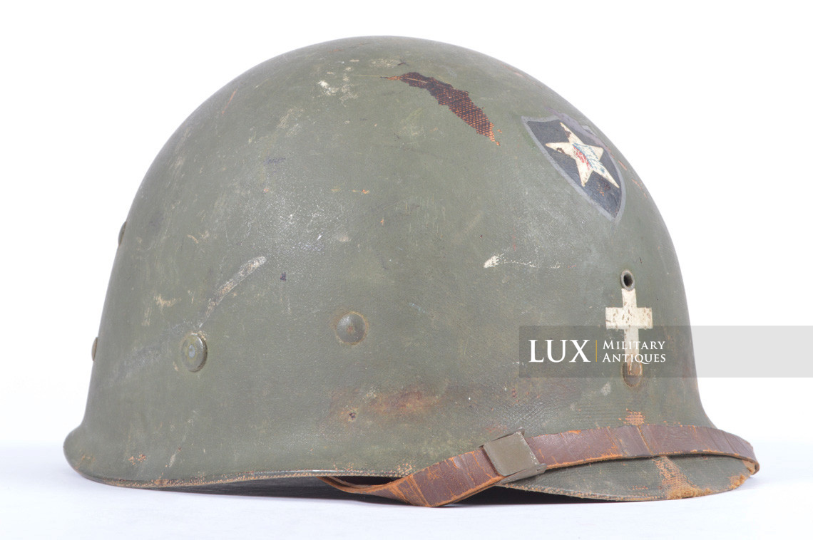 Rare USM1 2nd Infantry Division Chaplain's combat helmet, « Indian Head » - photo 49