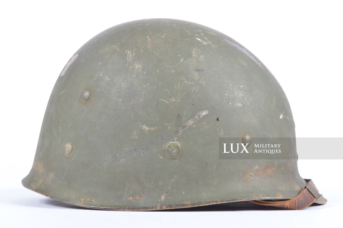 Rare USM1 2nd Infantry Division Chaplain's combat helmet, « Indian Head » - photo 50