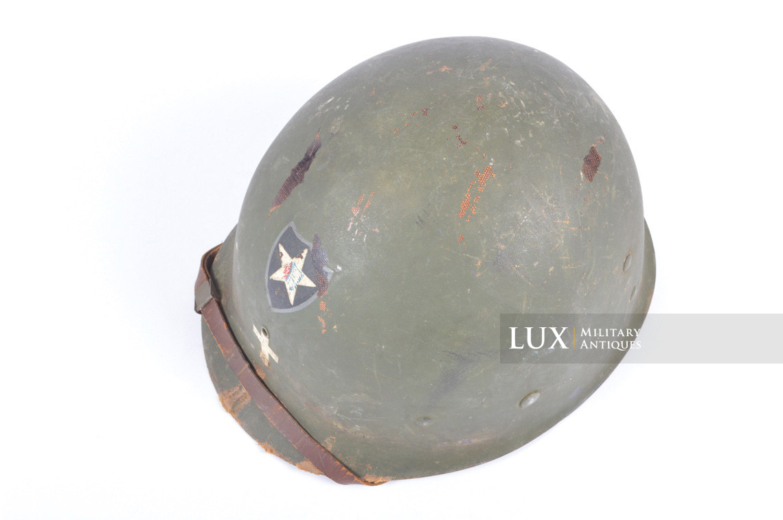 Rare USM1 2nd Infantry Division Chaplain's combat helmet, « Indian Head » - photo 55