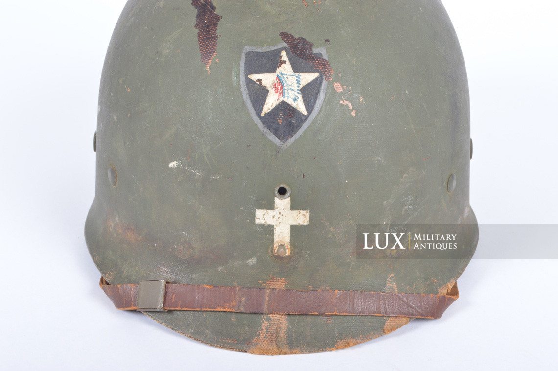 Rare USM1 2nd Infantry Division Chaplain's combat helmet, « Indian Head » - photo 56